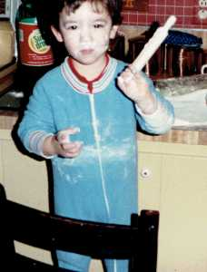 Even as a toddler, he enjoyed rolling dough.